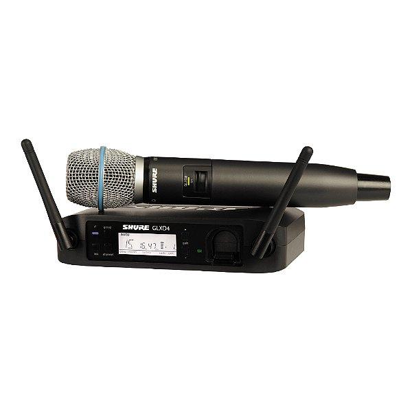 Sistema sem fio Shure Mão GLXD 24 BR / BETA 87 A