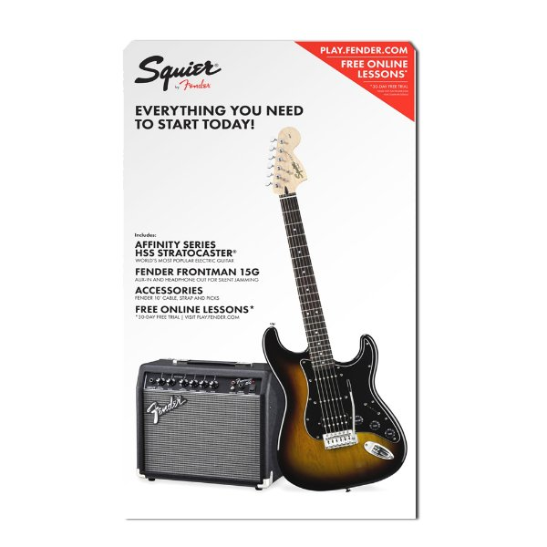 Kit Guitarra Strato Squier SB e Amplificador Fender Frontman 15