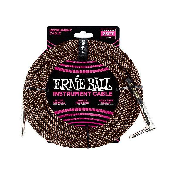 Cabo Ernie Ball Braided Cable P10 7,5 Metros Orange