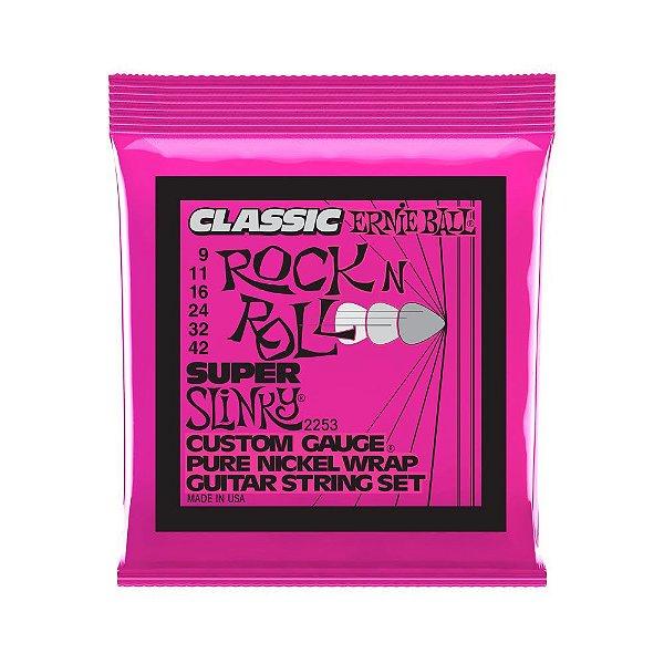 Encordoamento de Guitarra Ernie Ball 009. Classic Super Slinky
