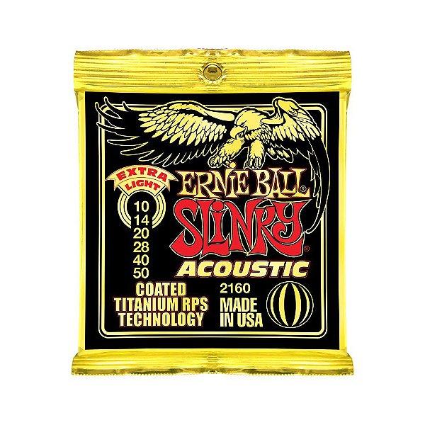 Encordoamento de Violão Ernie Ball 010. Coated Slinky Ac Extra Lig