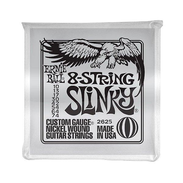 Encordoamento de Guitarra 8 Cordas Ernie Ball 010. 8 Strings Slinky