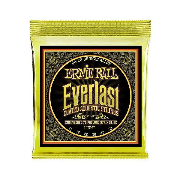 Encordoamento de Violão Ernie Ball 011. Everlast 8020 Light