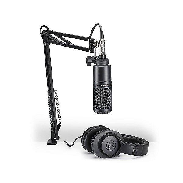 Kit Streaming e Podcasting Audio Technica AT 2020 PK