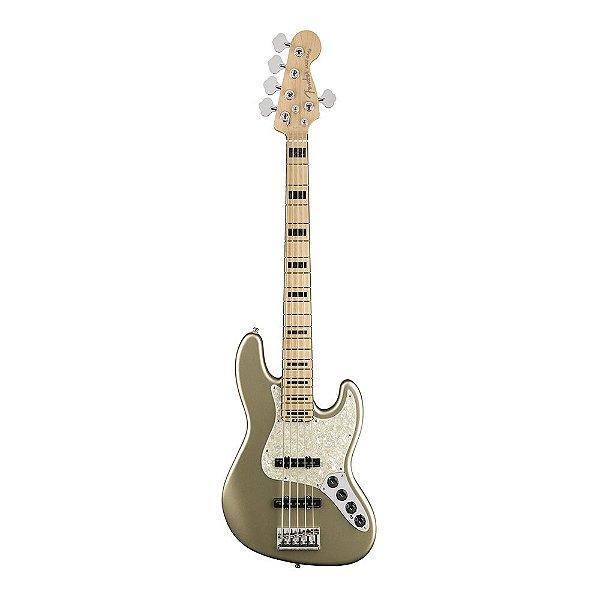 Contrabaixo Fender Am Elite Jazz Bass V Maple Champagne