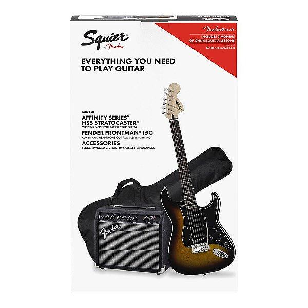 Kit Guitarra Squier Affinity Strat HSS Frontman 15G Brown Sunburst