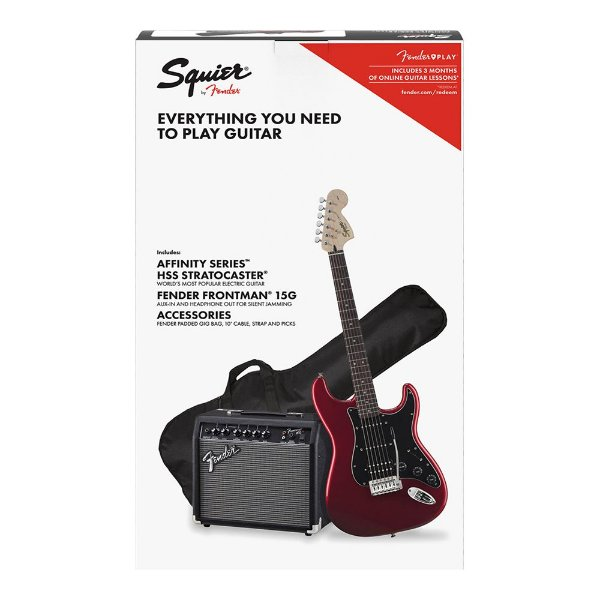 Kit Guitarra Squier Affinity Strat HSS Frontman 15G Candy Apple Red