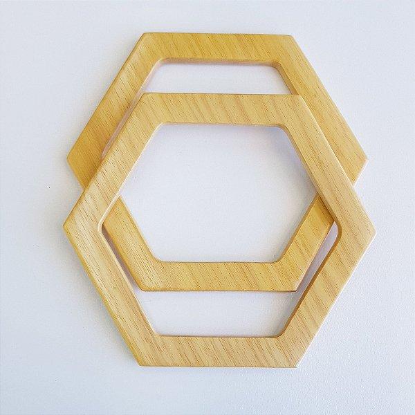 Fios Kiki - Alça de Madeira Clara - Mod. Hexagonal