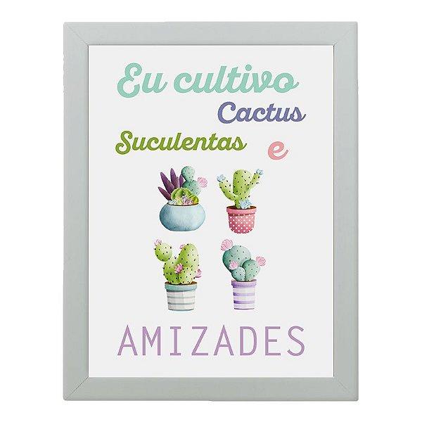 Quadro Decorativo Fios Kiki - Eu cultivo cactus, suculentas e amizades