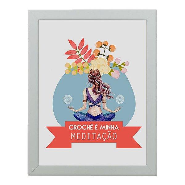 Quadro Decorativo Fios Kiki - Crochê é minha meditação