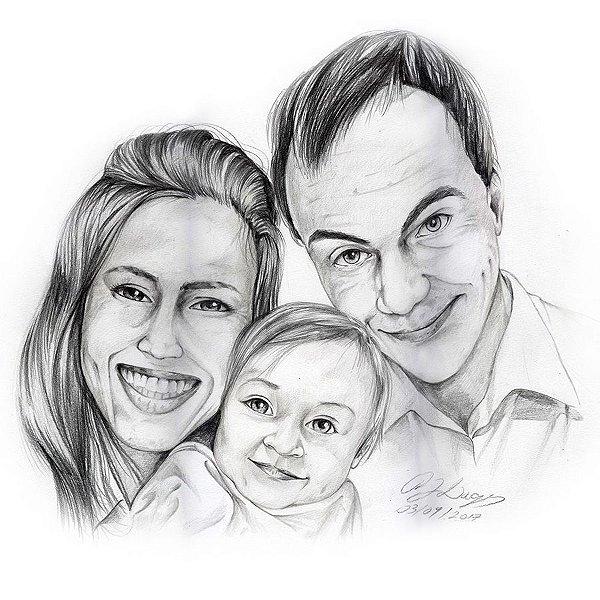 Desenho com três pessoas – Médio