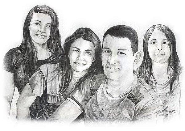 Desenho com quatro pessoas – Grande