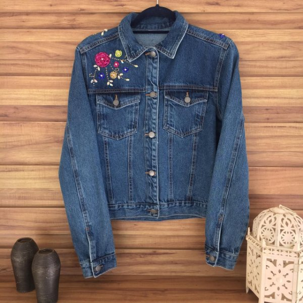 Jaqueta Jeans Flores 3D