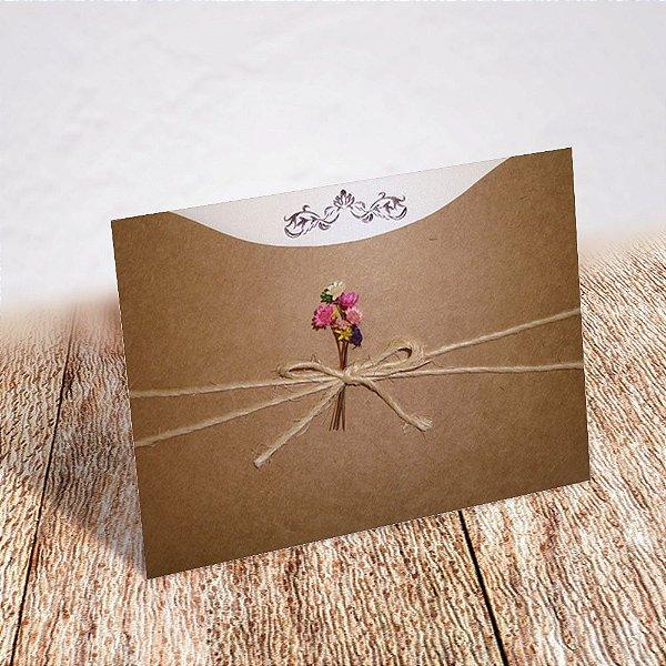 Convite Casamento Rústico Jacarandá
