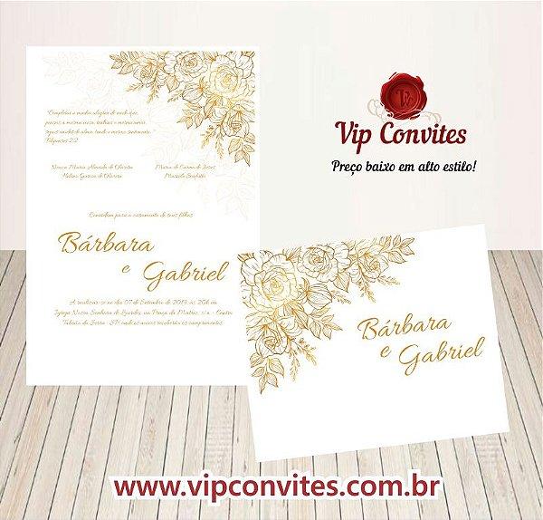 Convite de Casamento Floral Branco e Dourado B&G