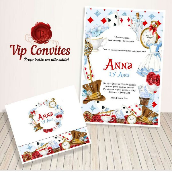 Convite Alice Wonderland