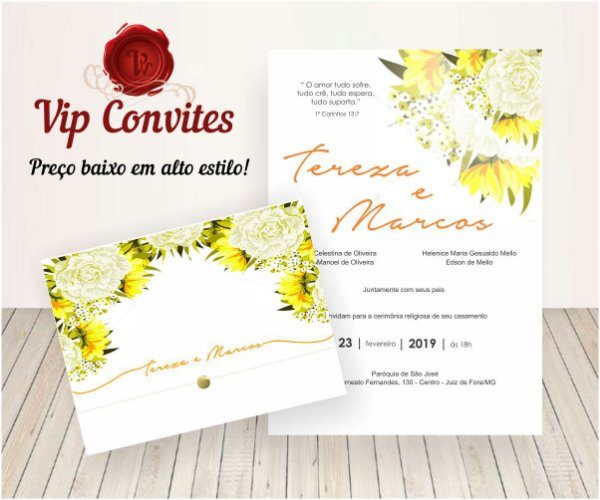 Convite Floral Amarelo T&M