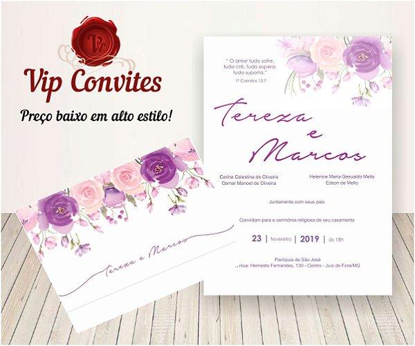 Convite Floral Rosa e Lilas T&M
