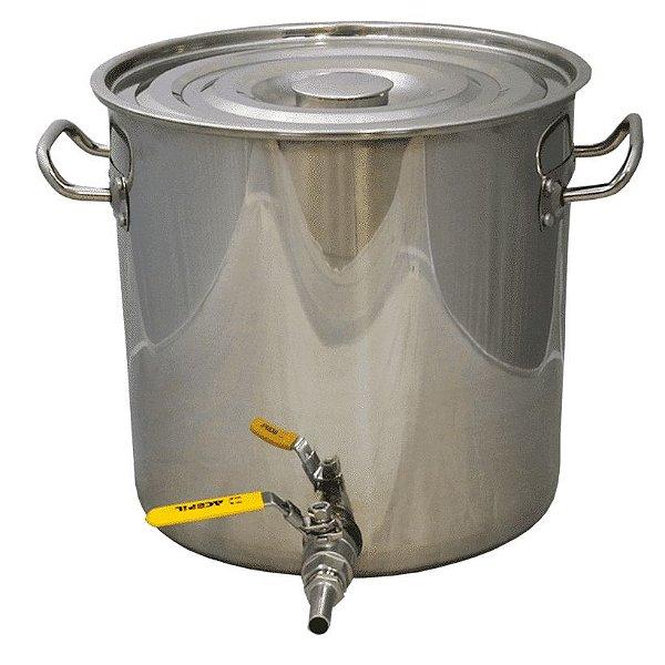 Panela em Inox para Fabricação de Cerveja - 48 Litros Com Válvula e fundo falso