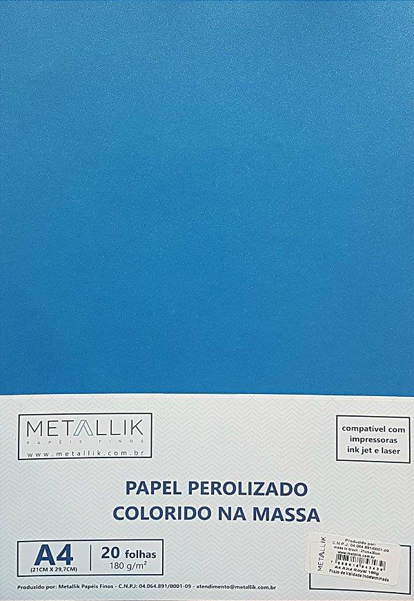 Papel perolado A4 colorido na massa liso Azul Royal