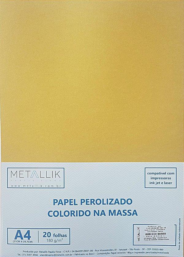 Papel perolado A4 colorido na massa liso Golden