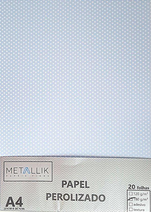 Papel perolado A4 Bolinha 1 Azul