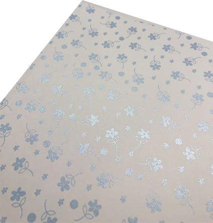 Papel perolado A4 Florzinha Azul - 180g