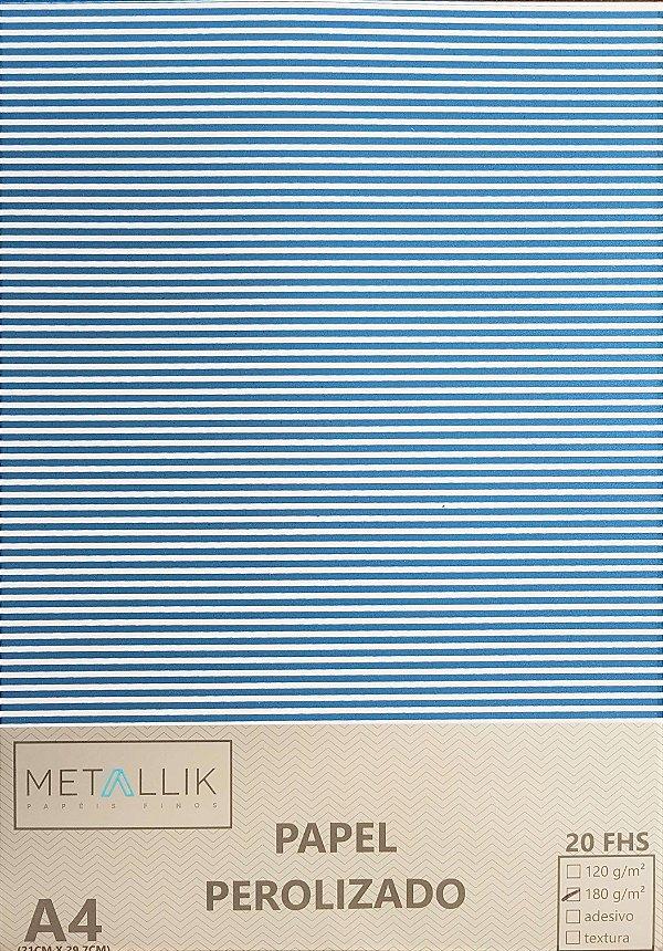 Papel perolado A4 Listra Fina Azul Escuro
