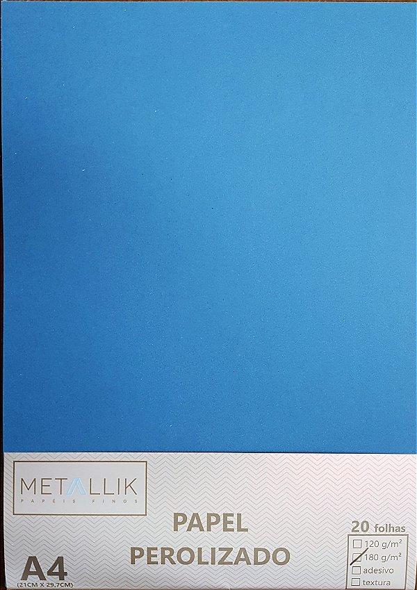 Papel perolado A4 Liso Azul Escuro