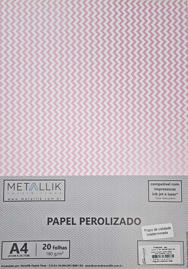 Papel perolado A4 Mini Chevron Rosa
