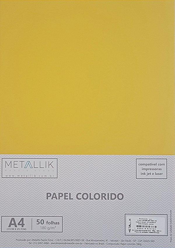 Papel A4 colorido na massa liso Amarelo Escuro