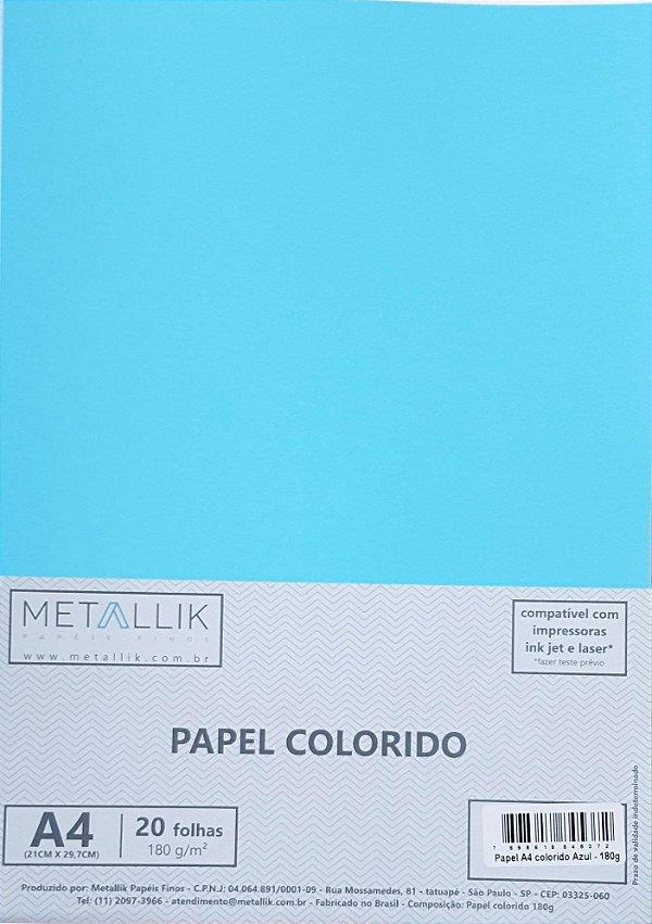 Papel A4 colorido na massa liso Azul 180g - 20 folhas