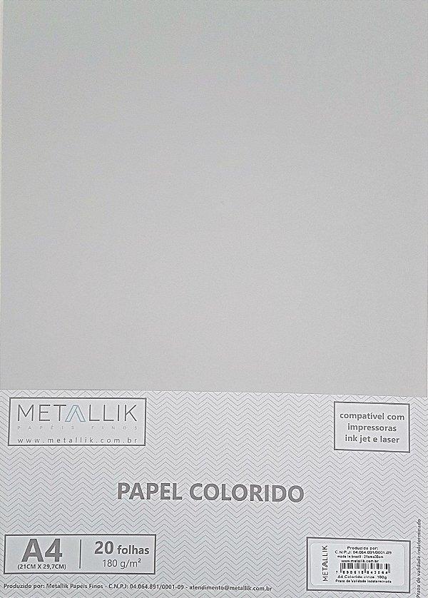 Papel A4 colorido na massa liso Cinza