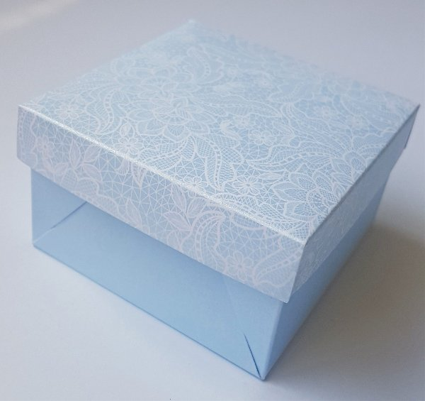 Caixa quadrada (7x7x4) Renda 1 Azul