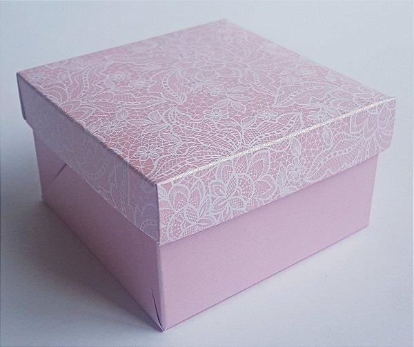 Caixa quadrada (7x7x4) Renda 1 Rosa