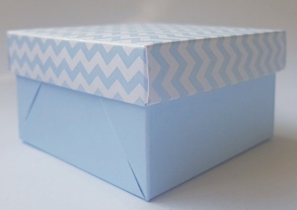Caixa quadrada (7x7x4) Mini Chevron Azul