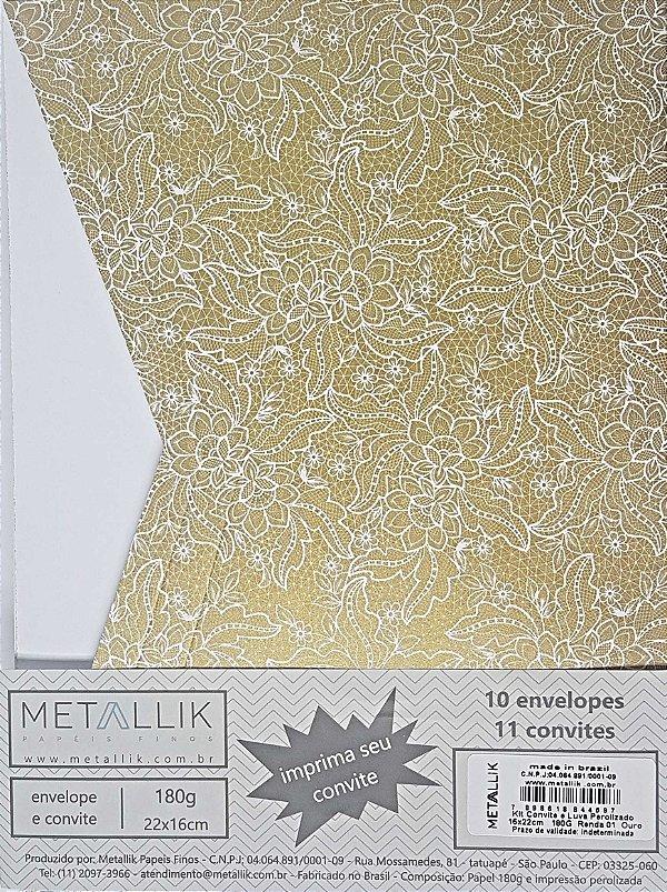 Kit Convite + Envelope Luva Renda 1 Ouro