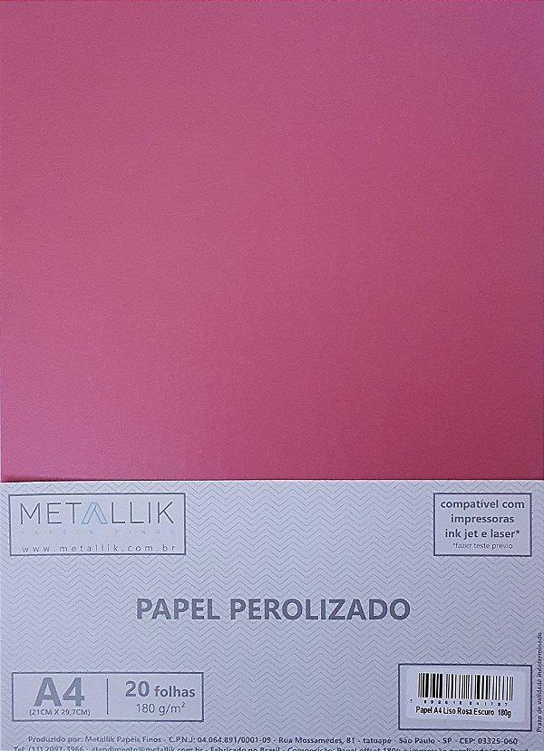Papel perolado A4 Liso Rosa Escuro