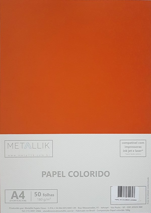 Papel A4 colorido na massa liso Laranja