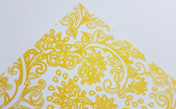 Papel Scrap perolado Arabesco 3 Amarelo