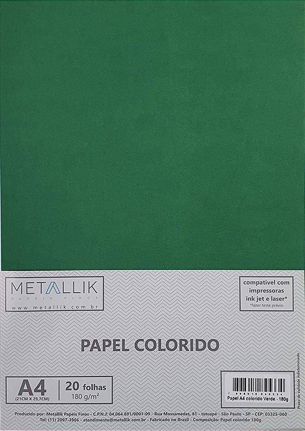 Papel A4 colorido na massa liso Verde