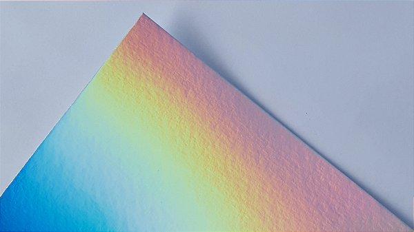 Papel Laminado A4 Holográfico Arco-íris 250g