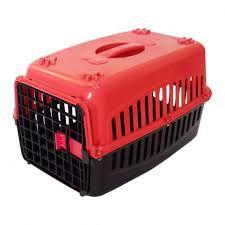 Caixa De Transporte num. 1 Alça Porta Gato Coelho Vermelha e Preta