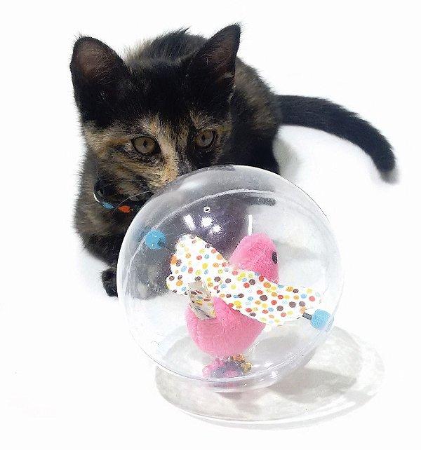 Brinquedo Gatos Bola Bolha C/ Pássaro Pelúcia Com Guiso