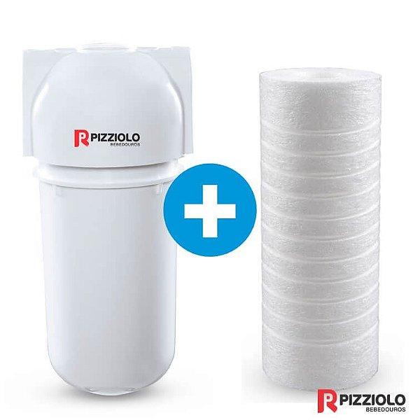 "Kit Filtro Purificador De Água 200 BR  + Elemento Filtrante Ranhurado 7"" Pizziolo"