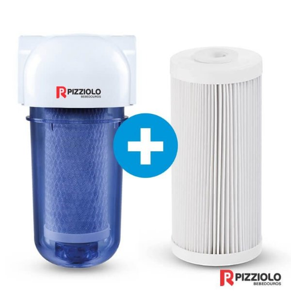 "Kit Filtro Purificador De Água 200 TR  + Elemento Filtrante Plissado 7"" Pizziolo"