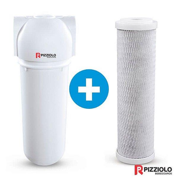 "Kit Filtro Purificador De Água 230 BR + Elemento Filtrante Carbon Block 9"" Pizziolo"