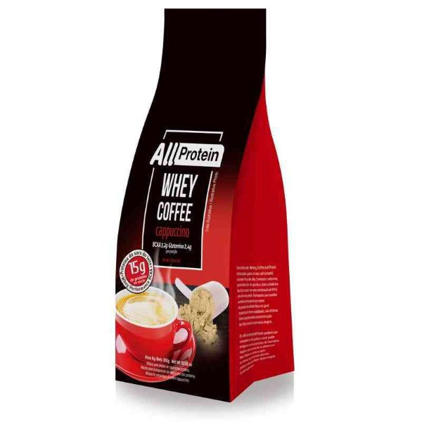 Pacote de 300g de Whey Coffe - Café proteico CAPPUCCINO 15g de proteina de whey protein com BCAA e Glutamina por dose - All Protein