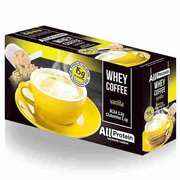 Whey Coffe - Café proteico vanilla 15g de proteina de whey protein com BCAA e Glutamina - All Protein 25 unidades de 25g - 625g