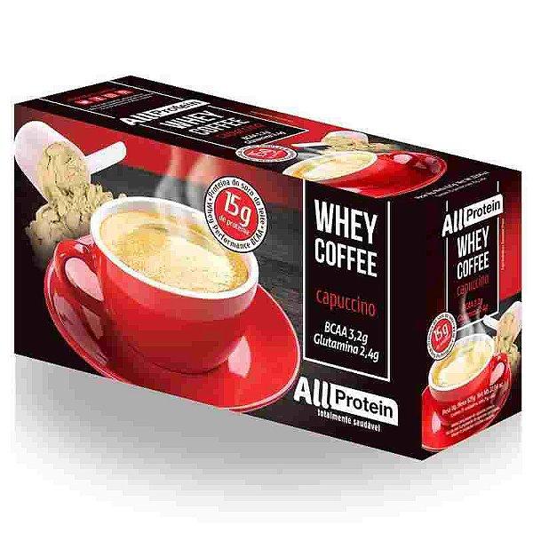 Whey Coffe - Café proteico cappuccino 15g de proteina de whey protein com BCAA e Glutamina - All Protein 25 unidades de 25g - 625g